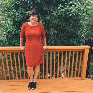 Antonio Melani Burnt Orange Sheath Lace Midi Dress